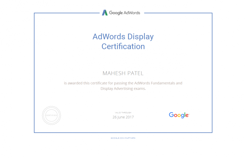 Adwords Display Advertising Certification