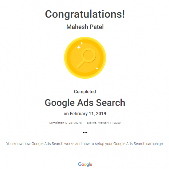 Adwords Search Advertising Certification